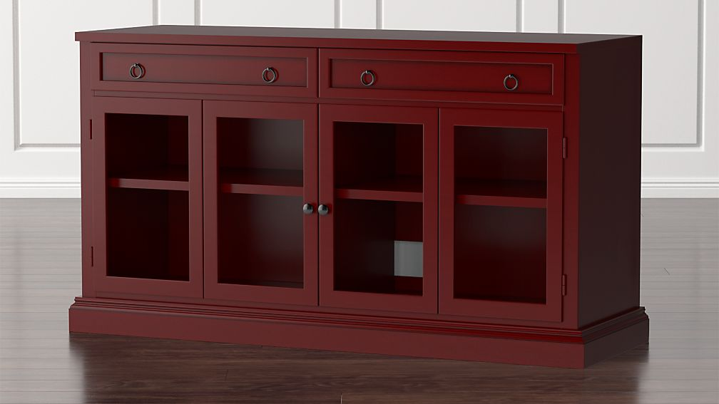 """Cameo 62"""" Red Modular Media Console with Glass Doors - Image 1 of 5"""