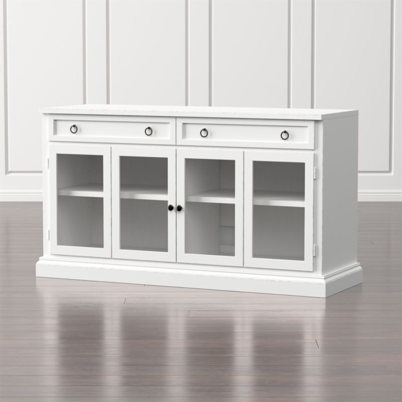 Cameo 62 White Modular Media Console With Gl Doors