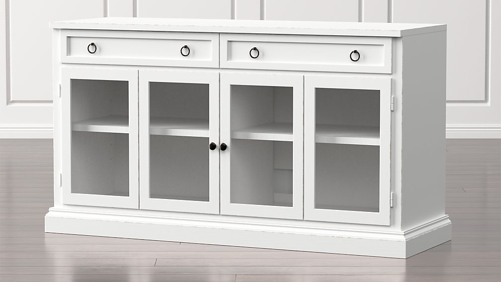 "Cameo 62"" White Modular Media Console with Glass Doors - Image 1 of 5"