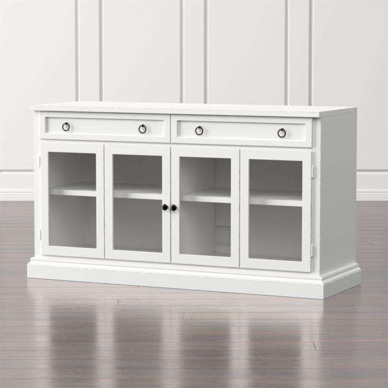 Cameo 62 Quot White Modular Media Console With Glass Doors