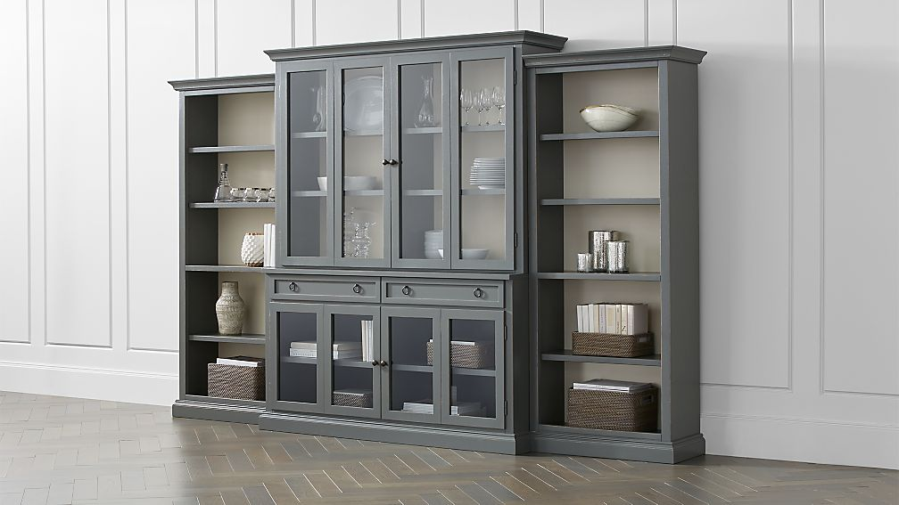 Cameo 4-Piece Modular Grey Glass Door Wall Unit with Open Bookcases ...