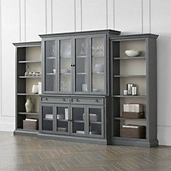 Cameo 2-Piece Grey Glass Door Wall Unit + Reviews | Crate and Barrel