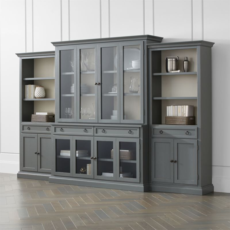 Cameo 4-Piece Modular Grey Glass Door Wall Unit