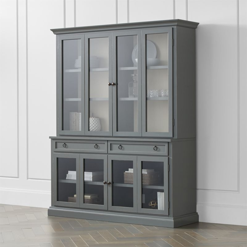 Cameo 2 Piece Modular Grey Glass Door Wall Unit