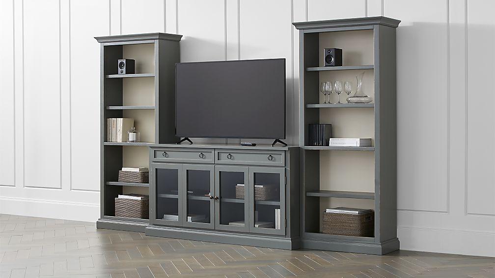 Cameo 3-Piece Modular Grey Glass Door Media Entertainment Center - Image 1 of 3