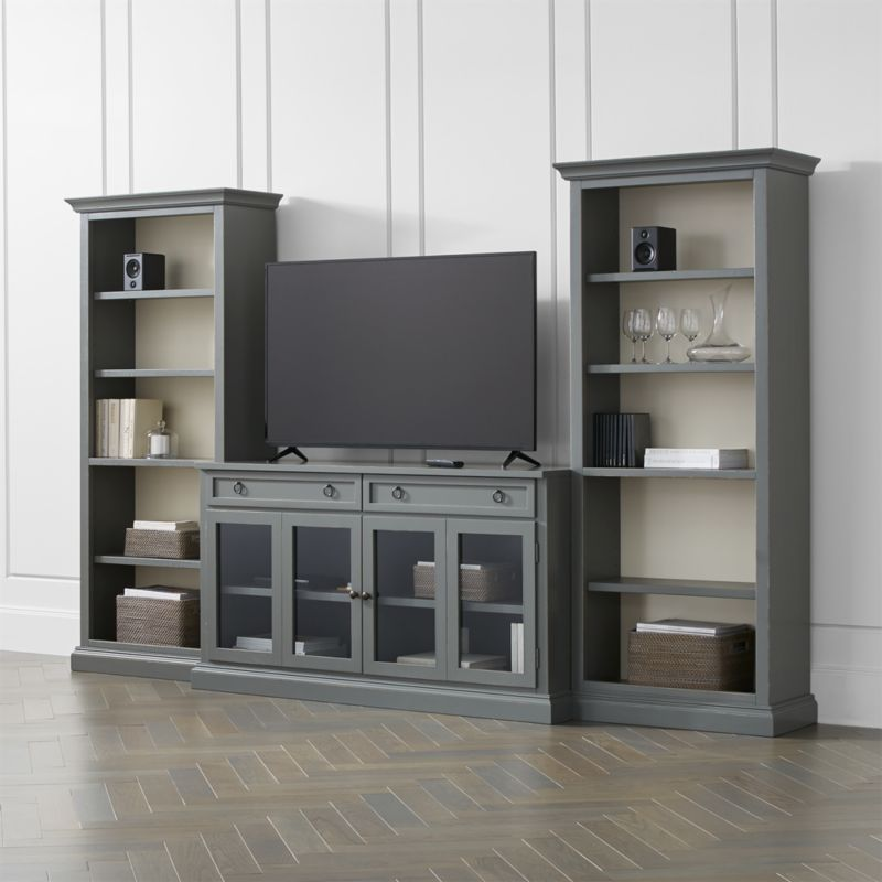 cameo 3 piece modular grey glass door media entertainment center reviews crate and barrel. Black Bedroom Furniture Sets. Home Design Ideas