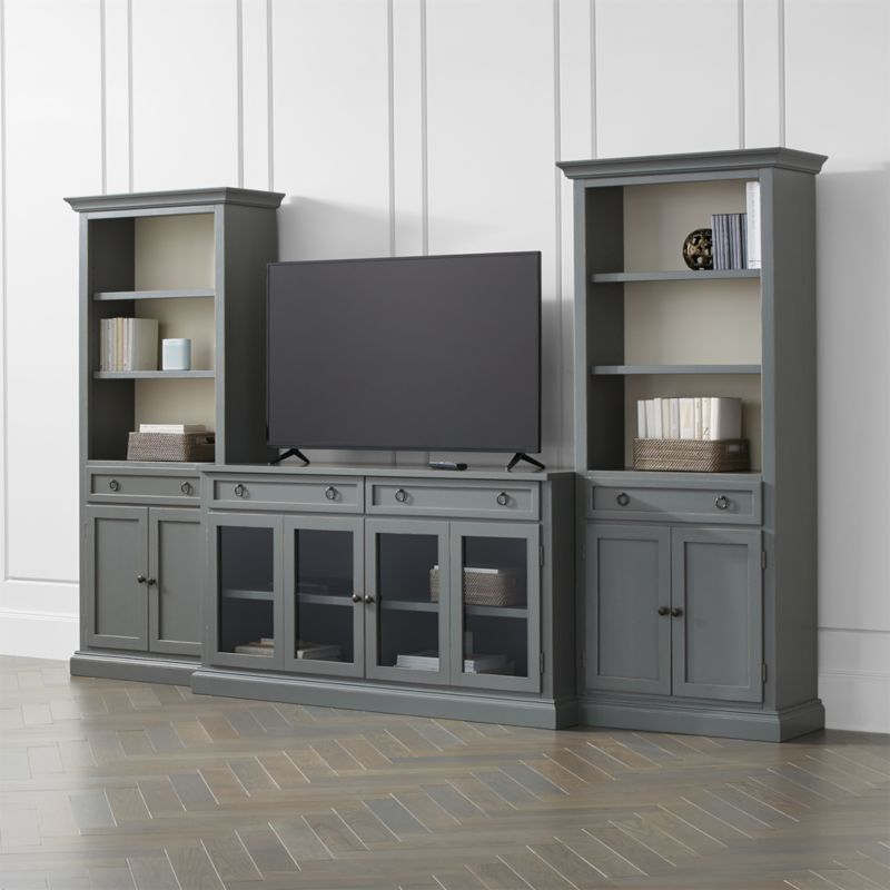 Cameo 3 Piece Modular Grey Glass Door Media Entertainment Center