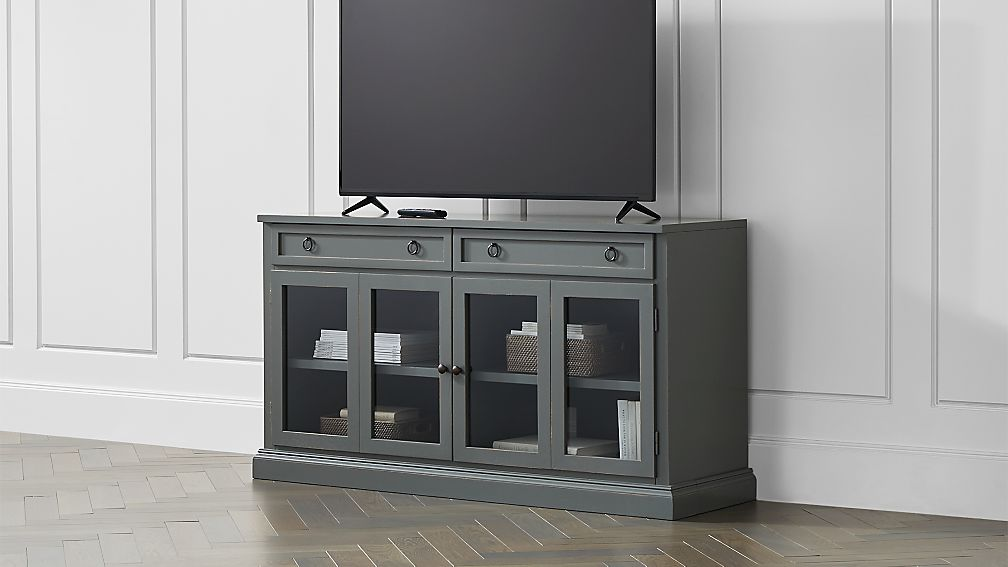 """Cameo 62"""" Grey Modular Media Console with Glass Doors - Image 1 of 5"""