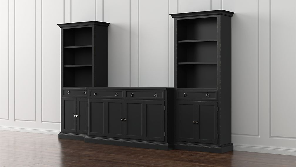 Cameo 3-Piece Modular Bruno Black Media Entertainment Center with Storage Bookcases - Image 1 of 5