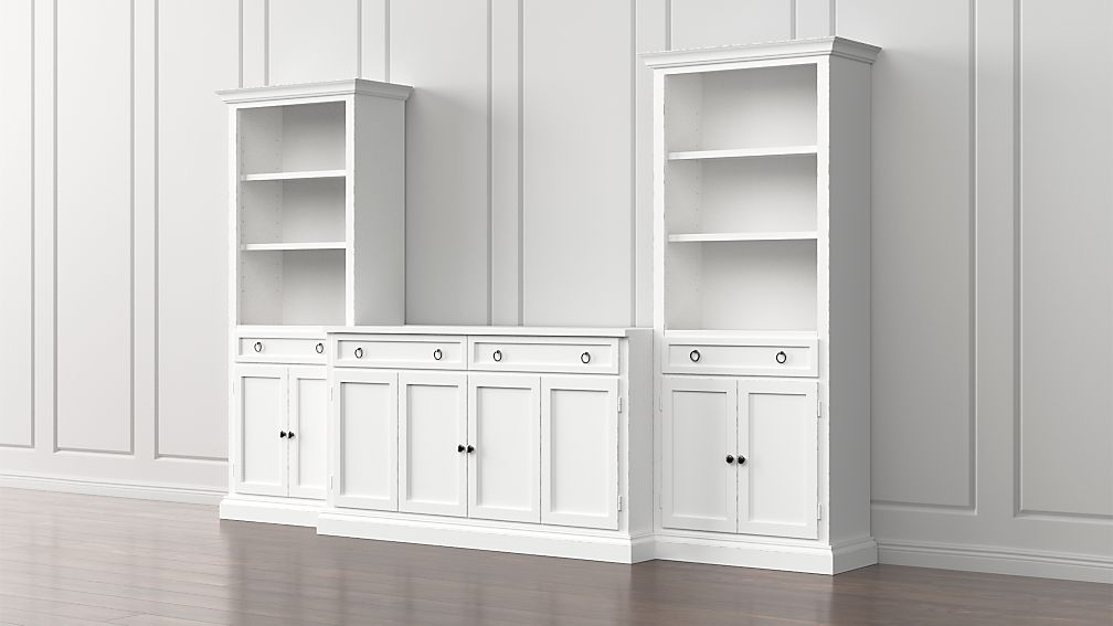 Cameo 3-Piece Modular White Media Entertainment Center with Storage Bookcases - Image 1 of 5