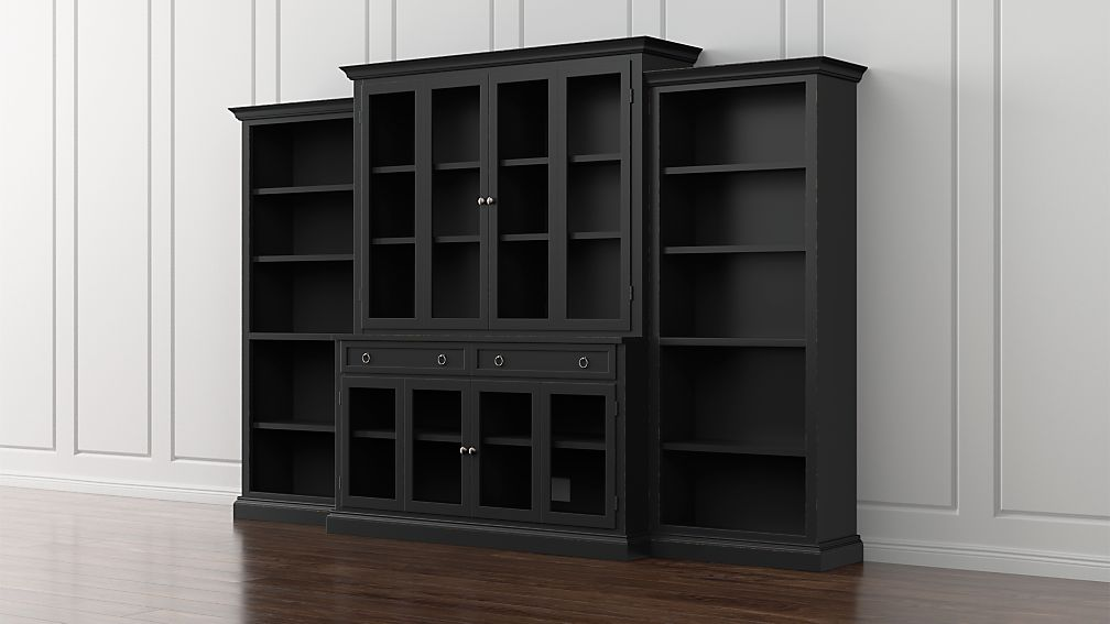 cameo 4 piece modular bruno black glass door wall unit with open bookcases reviews crate and. Black Bedroom Furniture Sets. Home Design Ideas