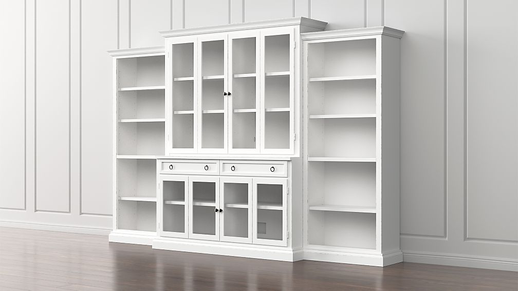 Cameo 4 Piece Modular White Glass Door Wall Unit With Open Bookcases