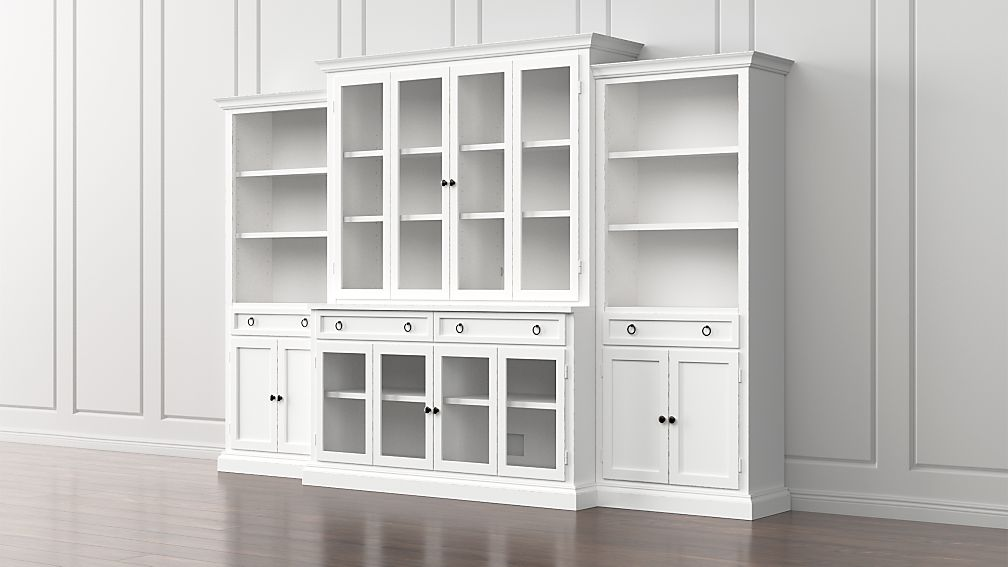 Cameo 4-Piece Modular White Glass Door Wall Unit + Reviews | Crate ...