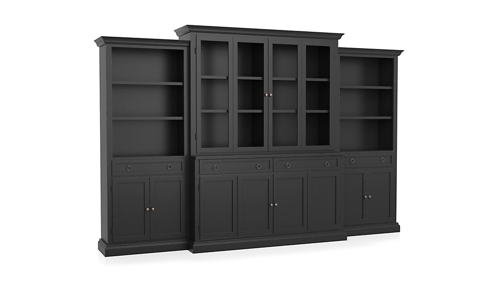 Cameo 4-Piece Modular Bruno Black Glass Door Wall Unit: Media Console, Hutch with Glass Doors, Modular Left and Right Storage Bookcases.