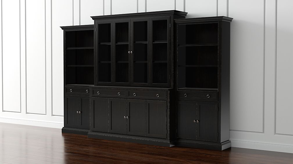 Cameo 4-Piece Modular Bruno Black Glass Door Wall Unit with Storage ...