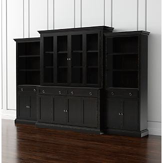 Living Room Storage. Cameo 4 Piece Modular Bruno Black Glass Door Wall  Unit: Media Console, Hutch