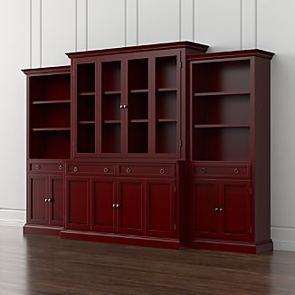 Cameo 4 Piece Red Glass Door Wall Unit With Storage Bookcases