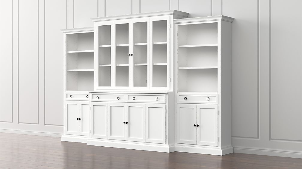 Cameo 4 Piece Modular White Glass Door Wall Unit With Storage Bookcases Reviews Crate And Barrel