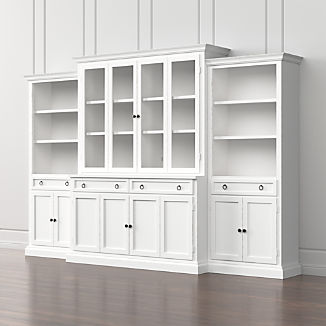 Cameo 4 Piece Modular White Gl Door Wall Unit With Storage Bookcases