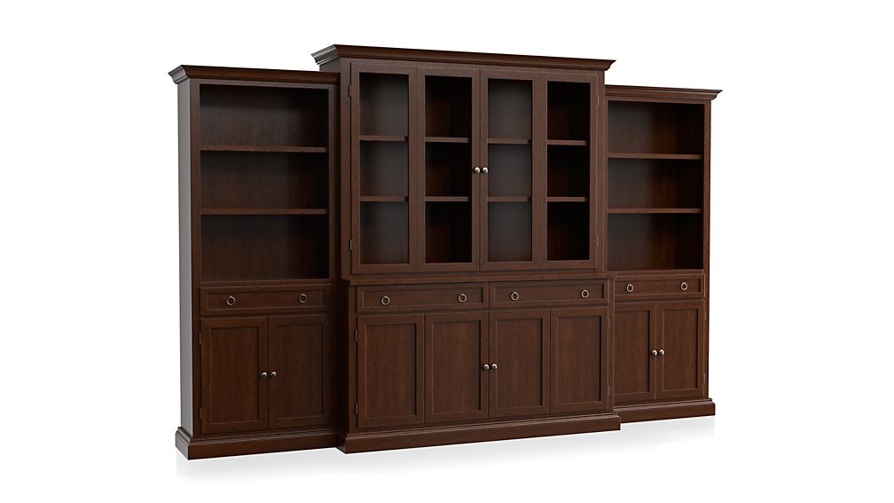 Cameo 4-Piece Modular Aretina Walnut Glass Door Wall Unit: Media Console, Hutch with Glass Doors, Modular Left and Right Storage Bookcases.