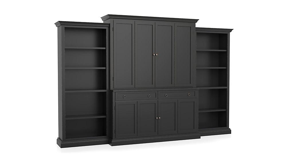Cameo 4-Piece Bruno Black Open Bookcase Entertainment Center