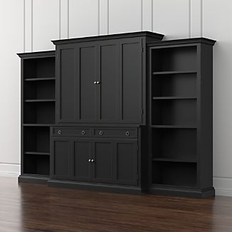 Cameo 4-Piece Bruno Black Open Bookcase Entertainment Center