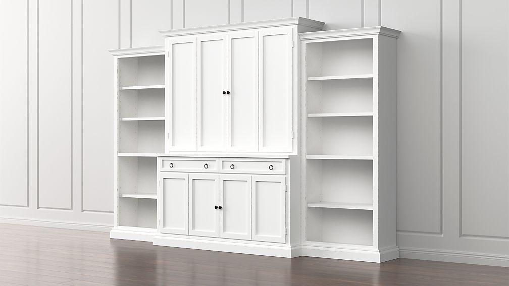 Cameo 4-Piece White Open Bookcase Entertainment Center - Image 1 of 5
