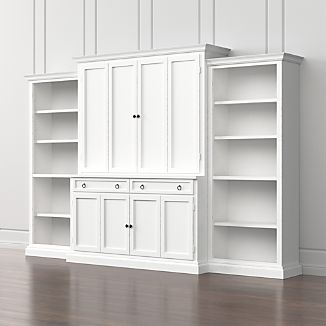 Cameo 4-Piece White Open Bookcase Entertainment Center