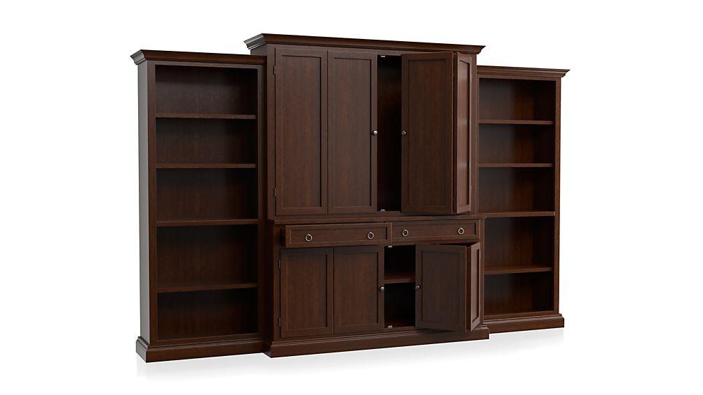 Cameo 4-Piece Aretina Walnut Open Bookcase Entertainment Center