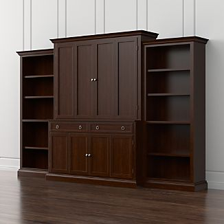 Cameo 4-Piece Aretina Walnut Open Bookcase Entertainment Center