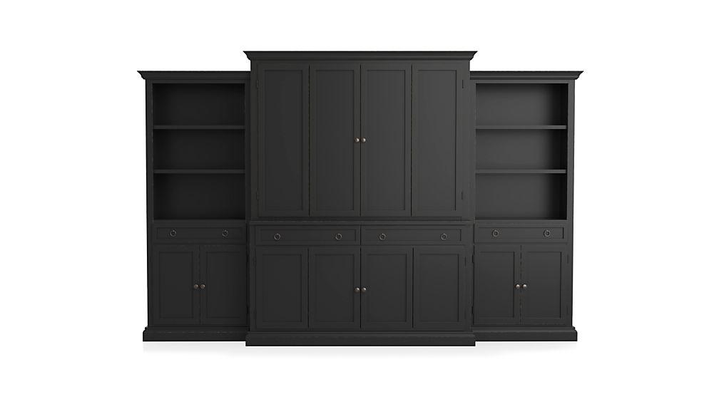 Cameo 4-Piece Bruno Black Storage Bookcase Entertainment Center
