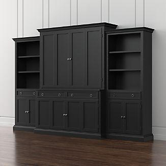 Cameo 4-Piece Bruno Black Storage Bookcase Entertainment Center