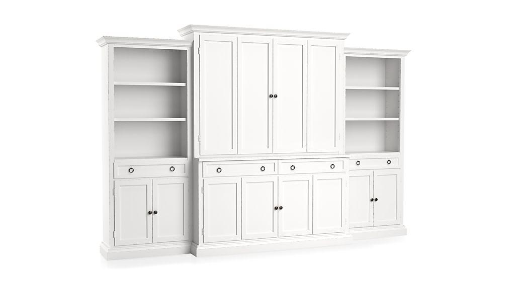 Cameo 4-Piece White Storage Bookcase Entertainment Center
