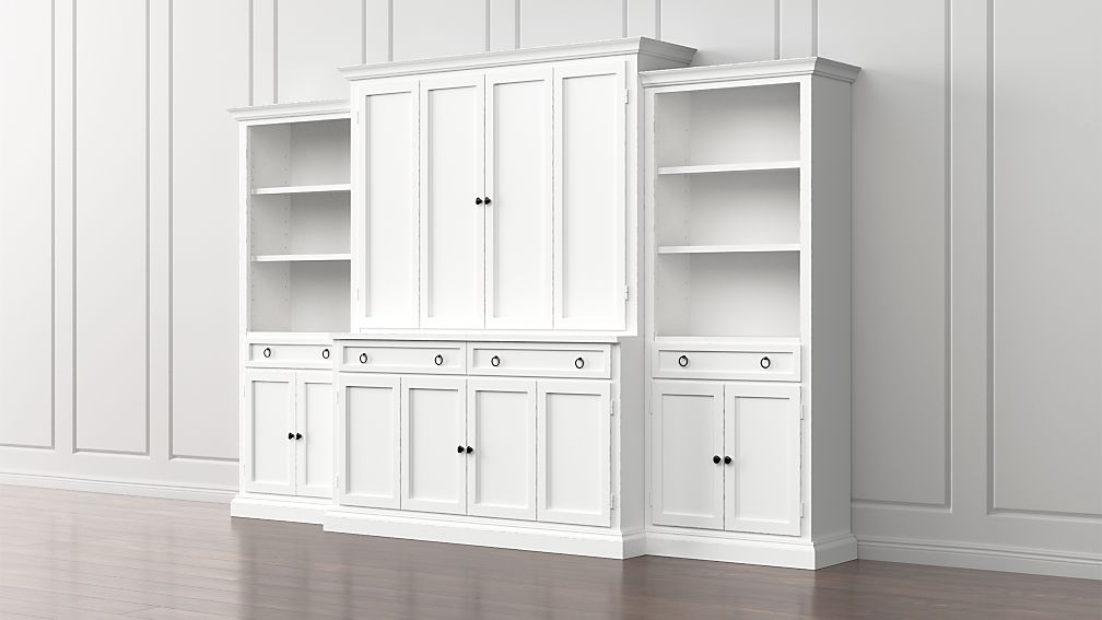 Cameo 4-Piece White Storage Bookcase Entertainment Center - Image 1 of 5