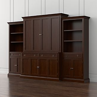 Cameo 4-Piece Aretina Walnut Storage Bookcase Entertainment Center