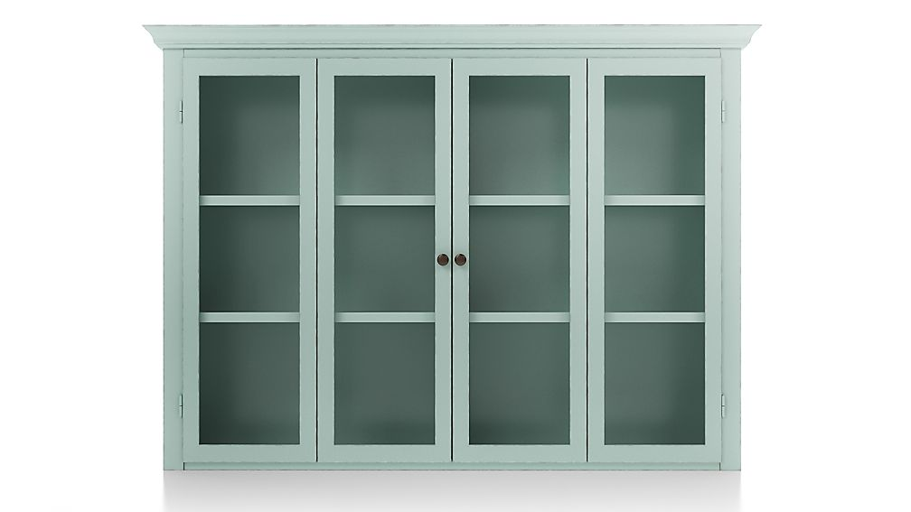 Cameo Blue Grey Modular Hutch with Glass Doors - Image 1 of 3