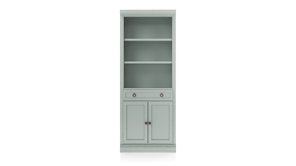 Cameo Blue Grey Storage Bookcase with Middle Crown - Image 1 of 3