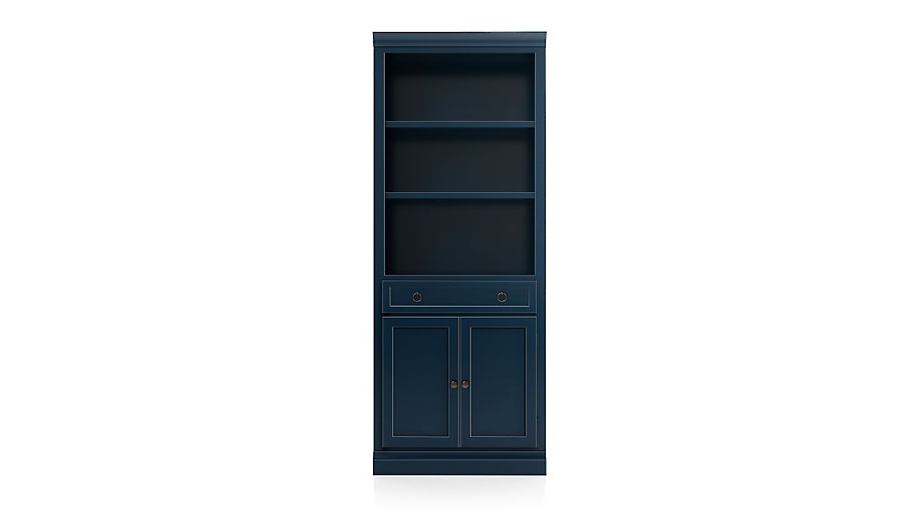Cameo Indigo Storage Bookcase with Middle Crown - Image 1 of 4