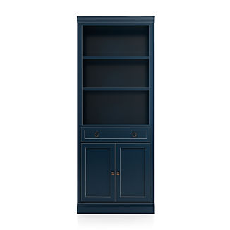 Cameo Indigo Storage Bookcase with Middle Crown