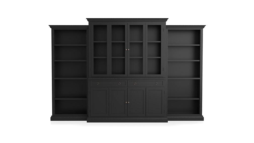 Cameo 4-Piece Bruno Black Glass Door Wall Unit w/Open Bookcases