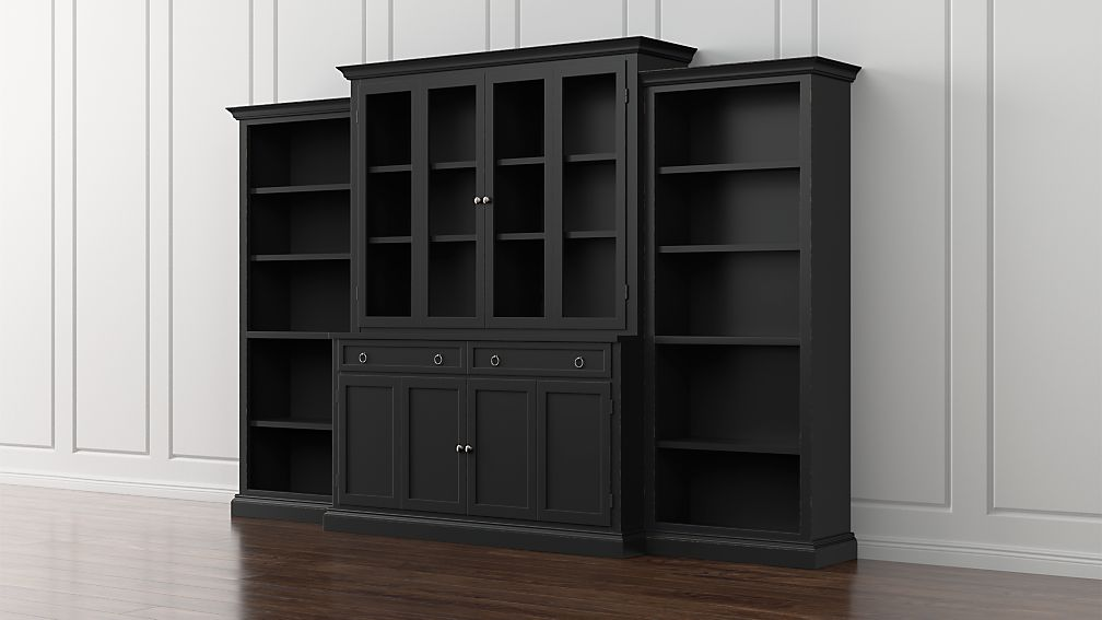 Cameo 4 Piece Bruno Black Gl Door Wall Unit With Open Bookcases Reviews Crate And Barrel