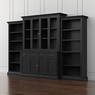 Cameo 4-Piece Bruno Black Glass Door Wall Unit w/Open Bookcases