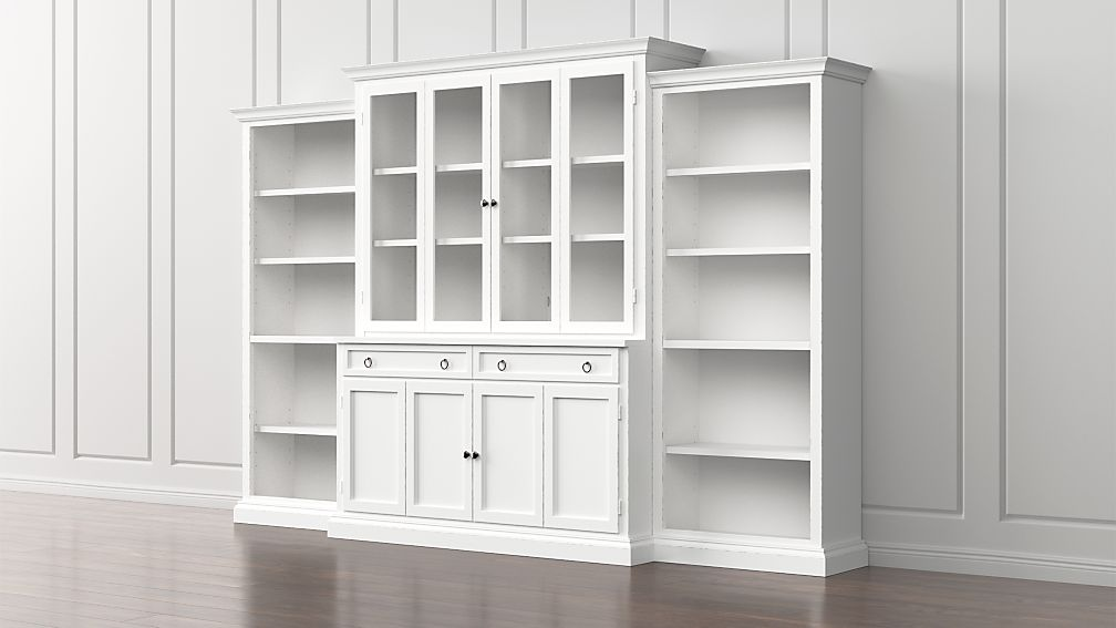 Cameo 4 Piece White Glass Door Wall Unit W Open Bookcases