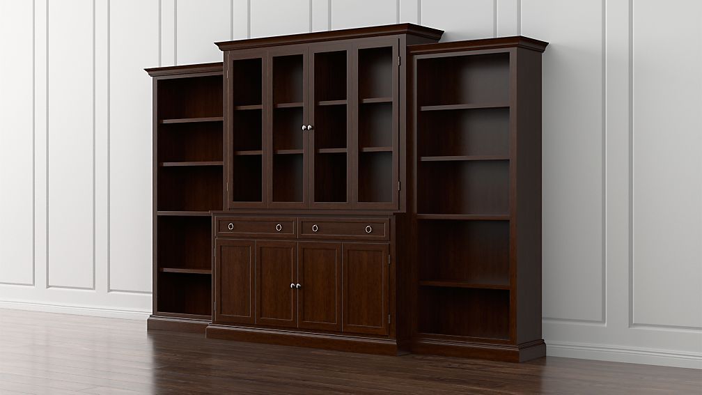 Cameo 4 piece aretina walnut glass door wall unit with open cameo 4 piece aretina walnut glass door wall unit with open bookcases in storage cabinets reviews crate and barrel planetlyrics Choice Image
