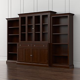 Cameo 4-Piece Aretina Walnut Glass Door Wall Unit w/Open Bookcases