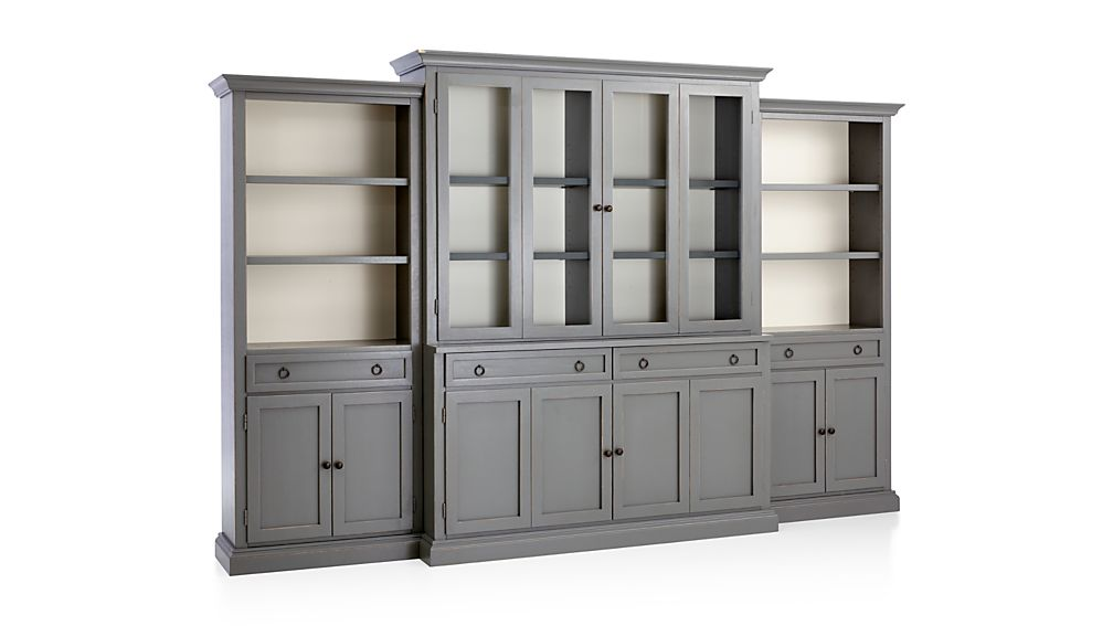 Cameo 4-Piece Modular Grey Glass Door Wall Unit: Media Console, Hutch with Glass Doors, Modular Left and Right Storage Bookcases.