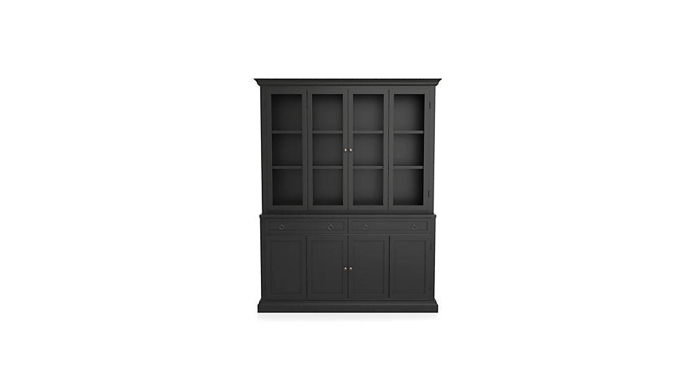 Cameo 2-Piece Bruno Black Glass Door Wall Unit