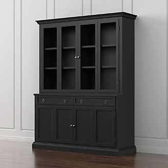 Cameo 2 Piece Bruno Black Glass Door Wall Unit