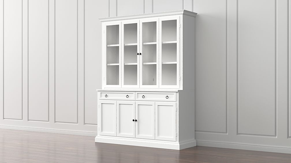 Cameo 2-Piece White Glass Door Wall Unit + Reviews | Crate and Barrel