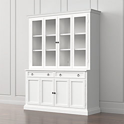 Cameo 4-Piece Modular White Glass Door Wall Unit with Storage ...